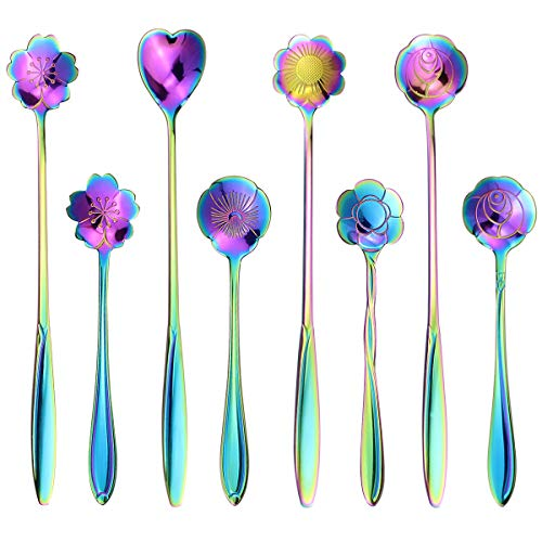 SelfTek 8Pcs Rainbow Flower Spoon Set, 2 Different Size Colorful Stainless Steel Reusable Teaspoons Coffee Sugar Stirring Spoon Dessert Cake Spoons Tea Scoops Table Spoon Mixing Spoon Ice Tea Spoon