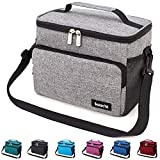 Leakproof Reusable Insulated Cooler Lunch Bag - Office Work Picnic Hiking Beach Lunch Box Organizer with Adjustable Shoulder Strap for Women,Men-Grey
