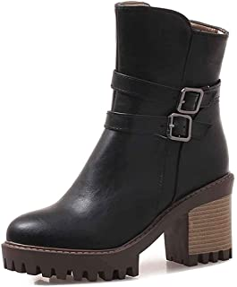 Women's Stylish Buckle Strap Lug Sole Round Toe Ankle Booties Stacked High Heel Platform Short Boots with Zipper