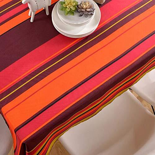 Nappe de tableNappe imprimée en nappe de table basse en polyester à rayures imperméable et résistante à l'huile,redstripes,130cm*180cm