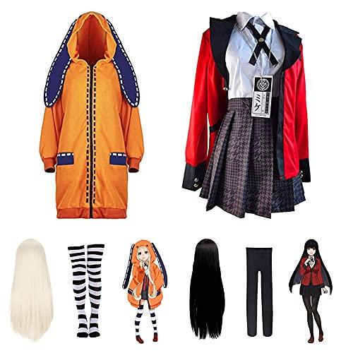 Kakegurui Yomoduki Runa Comic Con Disfraces Cosplay Traje de uniforme escolar con pelucas abrigo sudaderas con capucha Disfraces nia falda plisada Halloween Masquerade Conjunto completo Disfraz