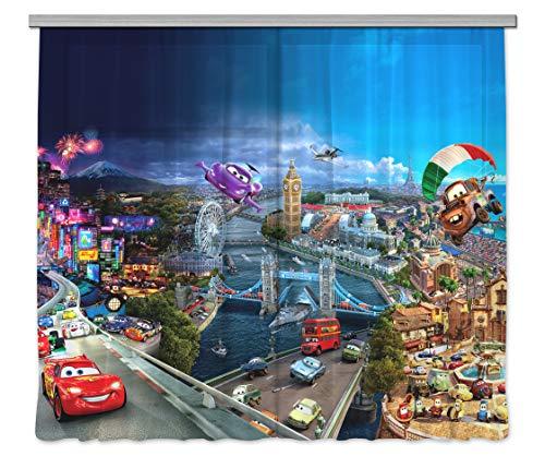 AG Design Disney Cars Kinderzimmer Gardine/Vorhang, 2 Teile, Stoff, Multicolor, 280 x 245 cm
