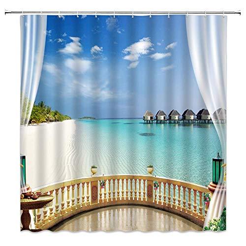 N\A Strand-Duschvorhang Ozeanblauer Himmel & Meer-Landschaft durch das hölzerne Fenster-Stoff-Badezimmer-Dekor-Vorhang mit Haken,