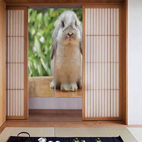 JISMUCI Vorhänge für Türen,Foto eines holländischen Lop Kaninchens,das auf den grünen Pflanzen eines hölzernen Brettes am Hintergrund Steht,Türvorhang Für die Küche Wohnzimmer Schlafzimmer