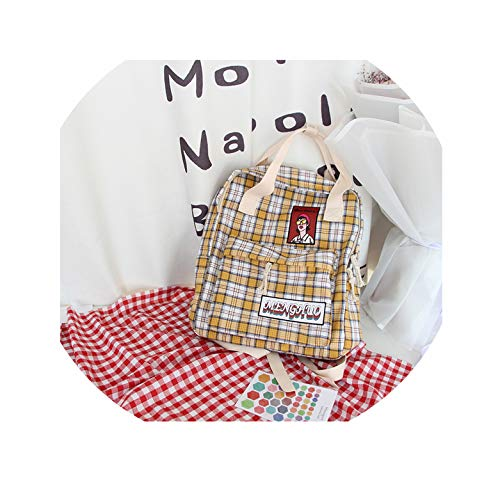 Japanese Soft Sister Chic Bag Female Korean Version of Small Fresh Harajuku Student Mori Canvas Backpack ins Backpack,Yellow,37x29x12 cm