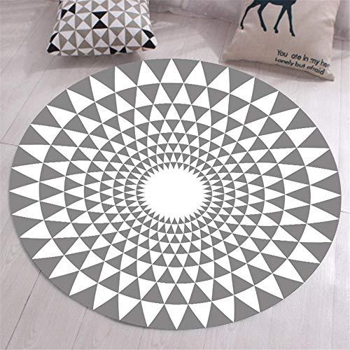 Kunsen decoración habitación niña alfombras alfombras Alfombra Redonda de Sala de Estar Gris y Blanca Moderna Moderna máquina Lavable Decoracion Gamer 140X140CM 4ft 7.1' X4ft 7.1'