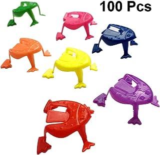 Toyvian Plástico Salto Rana Dedo Presionando Rana Juguetes Niños Fiesta Favores Regalos de cumpleaños 100 Piezas (Color Aleatorio)