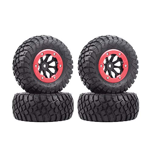 INJORA RC Wheel Set 4pcs Wheel Tires with Beadlock Rims for 1:10 RC Short-Course Truck Slash 4x4 VKAR 10SC HPI (AX-4007)