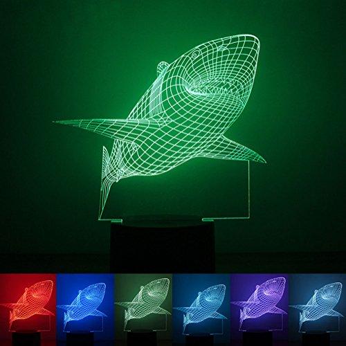 Shark 3D LED Illusions Lampe, Nachtlicht, Zimmer Zimmerbeleuchtung Dekoration Schreibtisch Lampe, Mit 7 Farben Blinken, Knopf Schalter Und USB-Powered