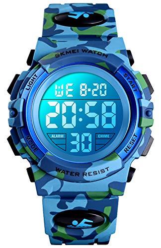 Reloj deportivo digital para niños, resistente al agua, informal, analógico, de cuarzo, 7 colores LED relojes con alarma para niños y niñas, Camuflaje azul cielo verde, S