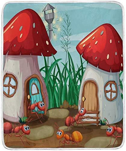 Jgikt Cobija,Hormigas De Dibujos Animados En The Mushroom House Mantas Suaves Y Cálidas De Manto Flanella Ligero Manta De Microfibra De Felpa Corta para Cama Sofá Silla Sofá Viaje Camping 50 X 60