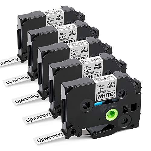 Upwinning kompatibel Schriftbänder als Ersatz für Brother P-touch TZe-231 Laminiertes Schriftband 12mm x 8m, schwarz auf weiß TZe231 TZ 231 AZe-231 White Tape für Ptouch PT H110 D400 D210, 5er-Pack