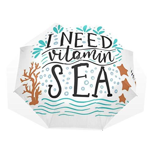 LASINSU Regenschirm,Ich Brauche Vitamin Sea Inspirational Zitat Hand gezeichnet mit Coral Waves Starfishes Bubbles,Faltbar Kompakt Sonnenschirm UV Schutz Winddicht Regenschirm