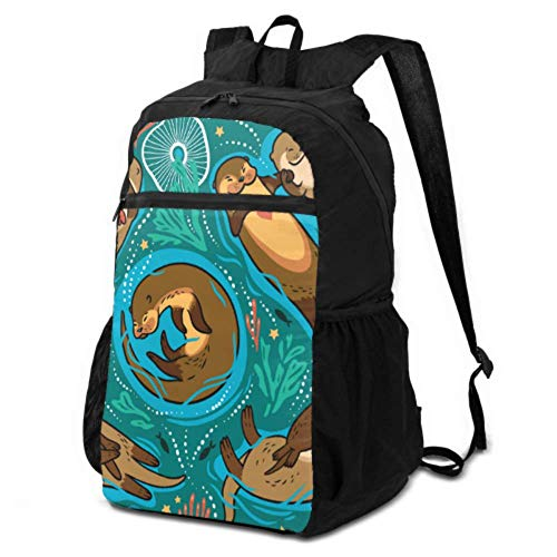 JOCHUAN Womens Hiking Daypack Cartoon Cute Funny Slowly Animal Otter Packable Hiking Backpack Lightweight Daypack for Hiking Lightweight Waterproof for Men & Womentravel Camping Outdoor