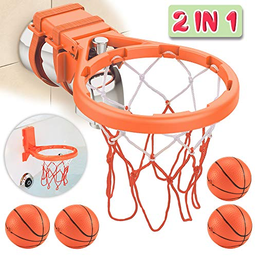 Bath Toy Basketball Hoop & Balls Playset(2 in 1 Design), with 4 balls and Mesh...