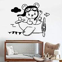 wZUN Vinyl Wandtattoos kleine Teddybär Pilot Flugzeug Kinderzimmer Dekoration Aufkleber Junge Raumdekoration 52X42cm