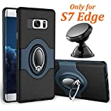 eSamcore Samsung Galaxy S7 Edge Case Ring Holder Kickstand Cases + Dashboard Magnetic Phone Car Mount [Navy Blue]