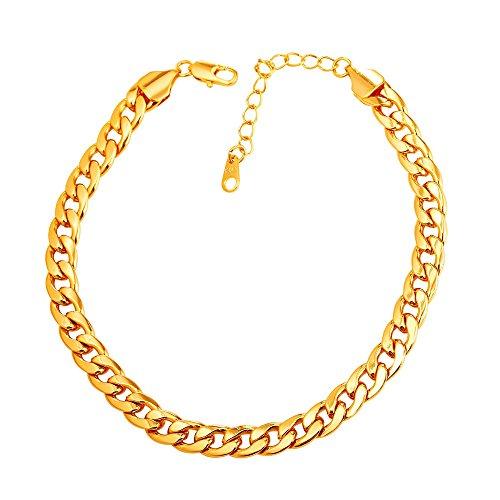 U7 Barefoot Jewelry 18K Gold Plated Cuban Chain Anklet Women/Men Foot Bracelet, 22-27 cm Long