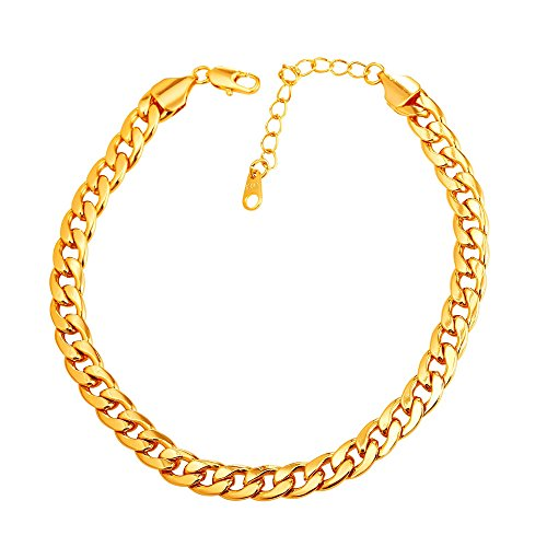 U7 Barefoot Jewelry 18K Gold Plated Cuban Chain Anklet Women/Men Foot Bracelet, 22-27 cm Long