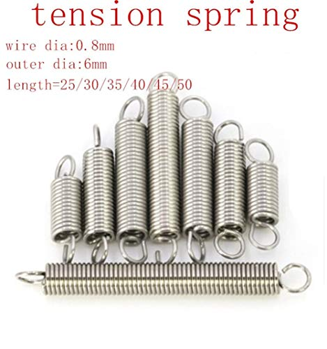 Extension Expansion Tension Spring Loop End Wire Dia 0.8mm OD 6mm 8mm L 20-300mm