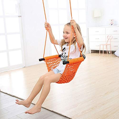 Yamyannie Columpio para Niños Swing Kids Asientos for jardín Interior al Aire Libre Fácil de Instalar Material de poliéster para Exterior (Color : Orange, Size : 45.5x8.0x50.5cm)