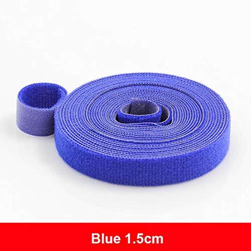 5 meter herbruikbare klittenband kleefband Sterke haken en lussen Kabelbinders Gordijn Nylon sluiting, 1,5 cm blauw