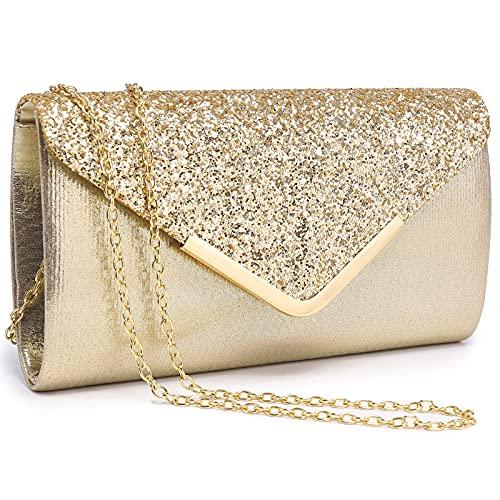 Dasein Evening Bag Envelope Handbag for Women Fashion Clutch Bag Ladies Shiny Sequins Evening Party Bag Prom Wedding (Gold)