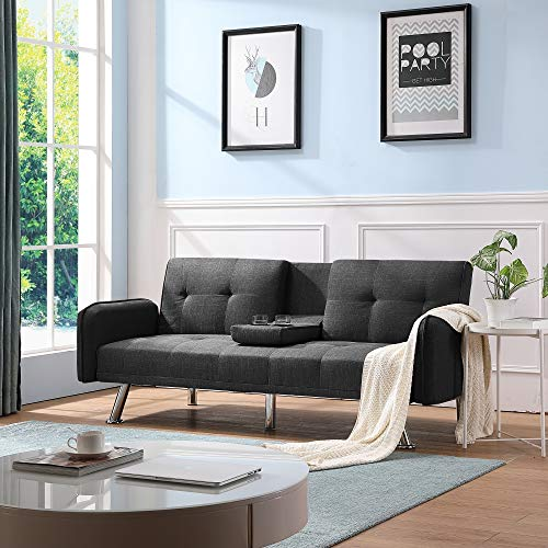 Futon Couch Bed, Sleeper Sofa Best Choice Products Modern Linen Convertible Futon Sofa Bed w/Metal Legs, 2 Cupholders - Dark Gray