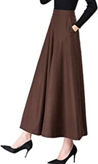 Women's Long Maxi Woolen A Line Skirt Autumn Winter Plaid Skirt