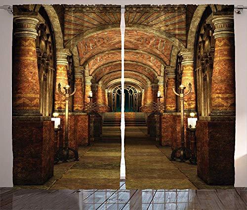 YUESUO Mörkläggningsgardiner för sovrum vardagsrum ögla fönsterbehandlingar arkitektur retro romerska kolumner bågar supermjuka termiska isolerade barn barnkammare ring topp gardiner heminredning 2 paneler 3