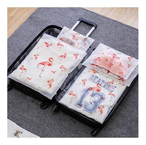 SSLHDDL 5pcs Flamingo Travel Storage Bag Transparent Cosmetic Bag Wardrobe Suitcase Pouch Plastic Luggage Organizer Clothes Shoes Bag (Color : 5pcs flamingo)
