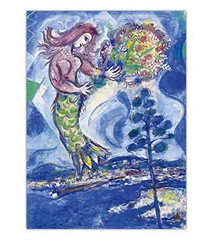 YIGUBIGU Leinwand Malerei Wandkunst Marc Chagall Druck Impressionist Poster Home Dekorative Abstrakte Moderne Wohnzimmer Bilder Ohne Rahmen 70 * 50cm