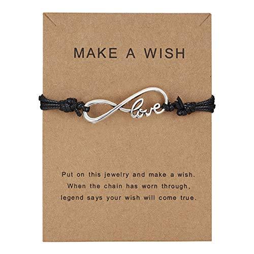 Machen einen Wunsch Papier Karte Gewebt Verstellbare Seil Kette Armband Zubehör für den Täglichen Verschleiß MiMiey (Stil J)
