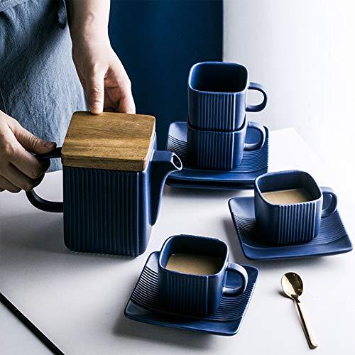 CSYY Teekanne mit Siebeinsatz, 800ML Teebereiter mit 4 Teetasse, 4 Untertassen und Siebeinsatz aus Edelstahl, Porzellan Kaffeekanne,Krug(Blau)