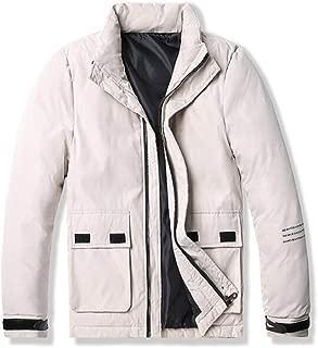 YXHM A Men's Simple Solid Color Velcro Jacket Thicken Warm Stand Collar Cotton Jacket Cotton Casual Casual Jacket (Color : Beige, Size : XXXXL)