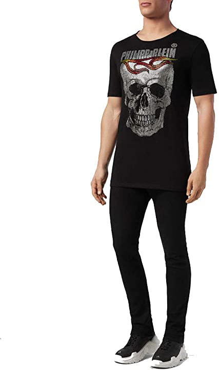 Maglietta philipp plein t-shirt girocollo ss flame MTK3546