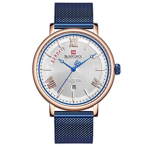 Men's Fashion Minimalist Wrist Watch Analog Date Week with Stainless Steel Waterproof Mesh Band