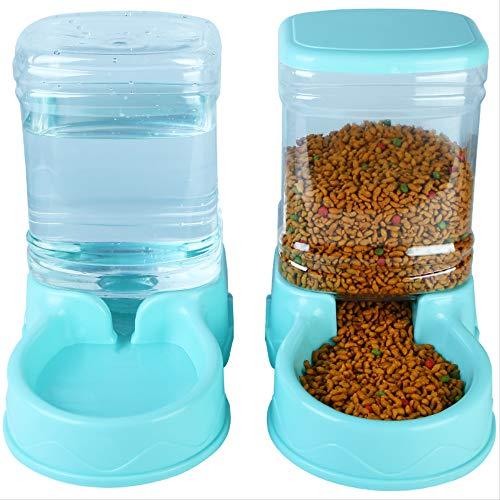 XYAO Dispensador automático de Comida/Agua de 3,5 L, dispensador automático de Agua, Adecuado para Perros Grandes, Perros pequeños y Gatos (Conjunto)