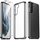 Ferilinso for Samsung Galaxy S21 Case with 2 Pack Tempered Glass Screen Protector [Hard PC Back+TPU Flexible Frame] [Military Grade Protection] [10X Anti-Yellowing] [Full Body Coverage]-Black Cover