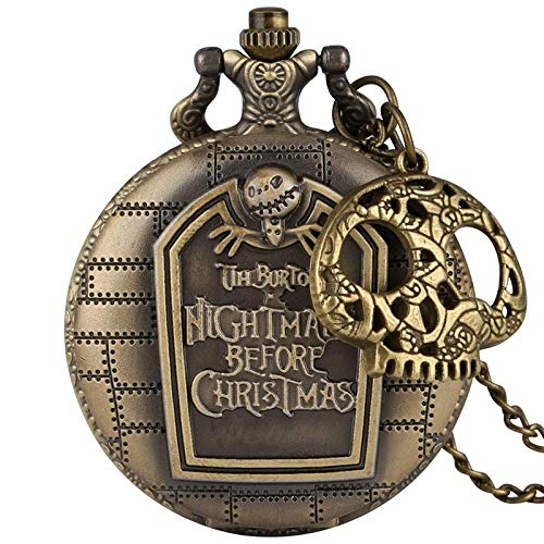 LKITYGF Elegante Reloj de Collar La Pesadilla Antes de Navidad Reloj de Bolsillo de Cuarzo Jack Jack Skillington Colgante Hora con Accesorio Skull