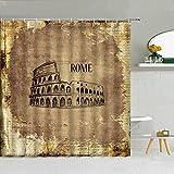 wslgfgk Ciudades Europeas Arquitectura Antigua Cortinas De Ducha 3D Roma Londres Egipto Decoración De Baño Famosa Cortinas Arquitectónicas Retro 180 (W) X180 (H) Cm I12610