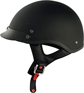 VCAN Cruiser Solid Flat Black Half Face Motorcycle Helmet (Large)