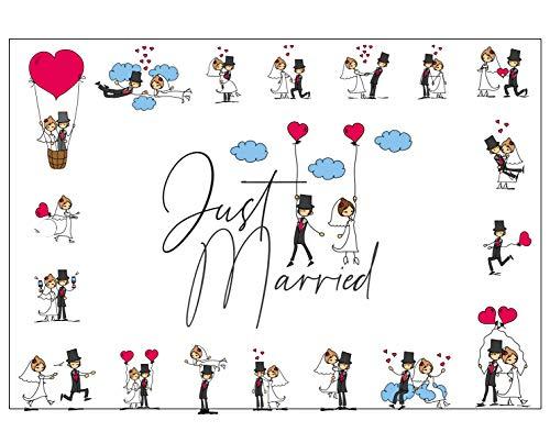 Ballonflugkarten zur Hochzeit - 50 Stück - gelocht, schöne leichte Ballonkarten mit lustigem Brautpaarmotiv für einen weiten Flug im Postkarten-Format für Luftballons und Herzluftballons