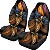 BIGCARJOB Retro Flower Pattern Auto Seat Covers 2pc Set Easy Install Full Wrap Bucket Seat Covers Elastic Back,fit Most Vehicle