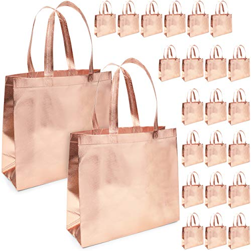 Reusable Grocery Tote Bags with Handles (9 x 13.5 Inches, Rose Gold, 24-Pack)