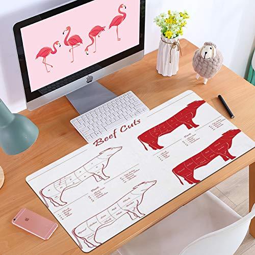 Gaming-MauspadCouper le flanc de viande de boeuf Coupe la Vache Rouge sur la Longe Blanc nourriture Filet Mignon Conception Bull Shank Manger Dessin,Anti-Rutsch-Mauspad mit spezieller Oberfläche