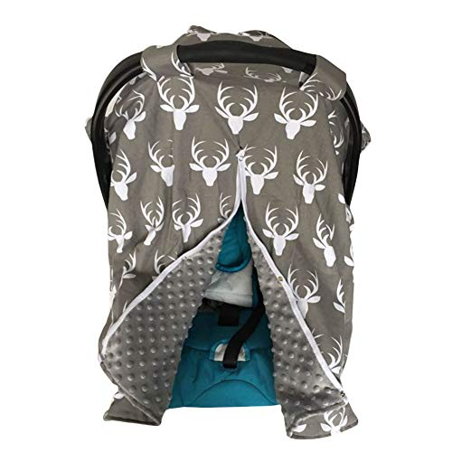 SunriseMall Baby Car Seat Cover, Deer Nursing Cover, Breastfeeding Scarf, Infant Carseat Canopy, Thicken Breathable Soft Stroller Cover for Babies Shower Gift (Dark Grey)