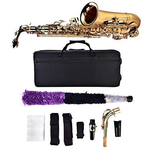 bE Alt Saxophon Blech Lackiertes Goldenes E Flache Sax 802 Taste Typ Holzblasinstrument mit Aufbewahrungskoffer Mundstück Zubehör Golden