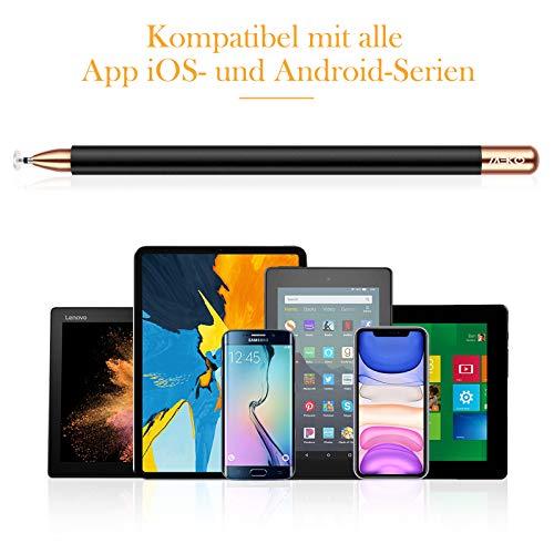 MEKO 2 in 1 Eingabestift Disc Touch Stift universal Touch Pen Stylus 100% kompatibel mit Allen Tablets Touchscreen iPhone iPad Surface Huawei usw, magnetische Kappe(Schwarz)