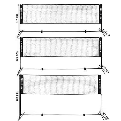 SONGMICS 3 m de Largo Red de Tenis b/ádminton de pie Altura Ajustable Entre 107-155 cm Divertido para Toda la Familia SYQ300HV1
